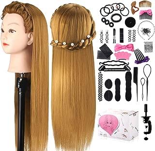 Mcwdoit 26 Inch CosmetologyMannequinHeadwithSyntheticHair, ManikinHeadHairdressingPracticeTrainingDollHead+TableClamp+HairStylingKit