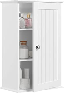 YAHEETECH White Wood Bathroom Wall Mount Cabinet Toilet Medicine Storage Organizer Single Door with Height Adjustable Shelves