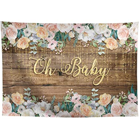 Allenjoy 7x5ft Wood Baby Shower Backdrop Oh Baby Floral Banner Rustic Wood Blue Flower Baby Boy Shower Photography Background Cake Table Decorations Party Supplies
