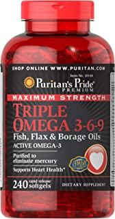 Puritan's Pride Triple Omega 3-6-9 Fish, Flax, and Borage Oils, Omega Fatty Acid Supplement, Purified to Eliminate Mercury...