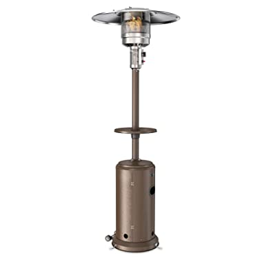 hOmeLabs Gas Patio Heater - 87 Inches Tall Premium Standing Outdoor Heater with Drink Shelf Tabletop - Auto Shut Off Portable Power Heater with Simple Ignition System, Wheels and Base Reservoir