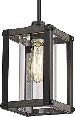 Osimir Farmhouse Glass Pendant Light, 1 Light Cage Hanging Pendant Lighting for Kitchen Island with Clear Glass Shade in Wood