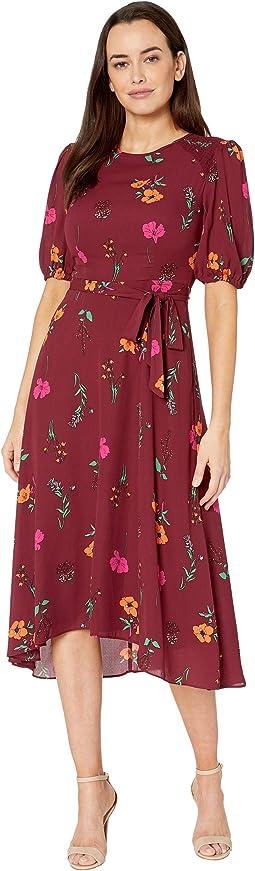 Floral Printed Elbow Sleeve High-Low Georgette Dress