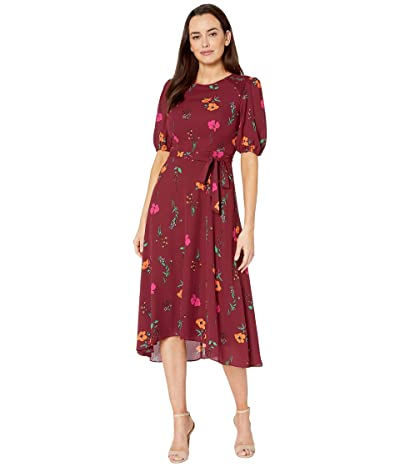 Donna Morgan Floral Printed Elbow Sleeve High-Low Georgette Dress (Bordeaux/Electric Pink Multi) Women
