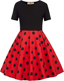 GRACE KARIN Girls Polka Dots/Floral Flared A-Line Dress