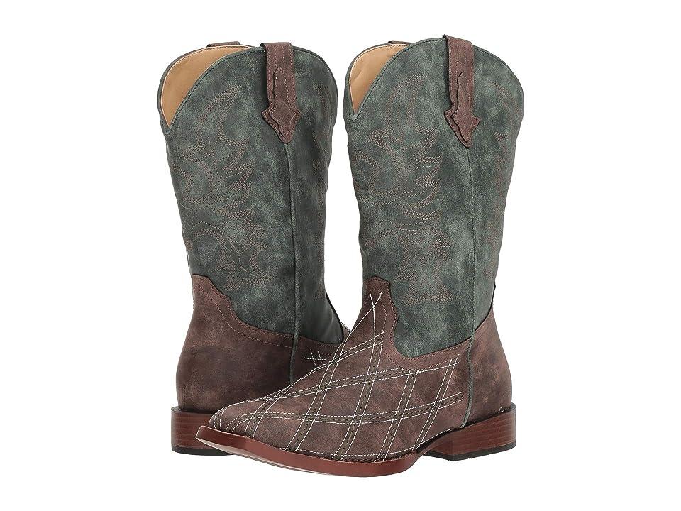 Roper Kids Crosscut (Big Kid) (Diamond Checkered Brown Vamp/Green Shaft) Cowboy Boots