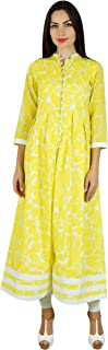 Bimba Women Long A-Line Kurti Indian Ethnic 3/4 Sleeve Cotton Kurta Blouse-