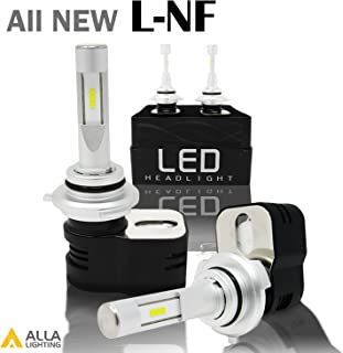 Alla Lighting 8400 Lumens Extremely Super Bright 6000K Xenon White High Power Mini 9012 HIR2 LED Headlight Bulbs Conversion Kits Headlamps with Turbine Heating - 2 Years Warranty