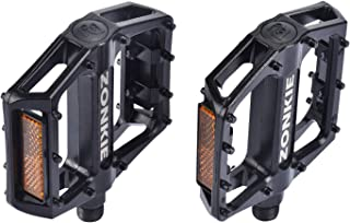 zonkie Bicycle Cycling Bike Pedals, Aluminum Bike Pedals Anti-Slip for BMX MTB and Road Bike, DU sealed Bearing Axle, Blac...