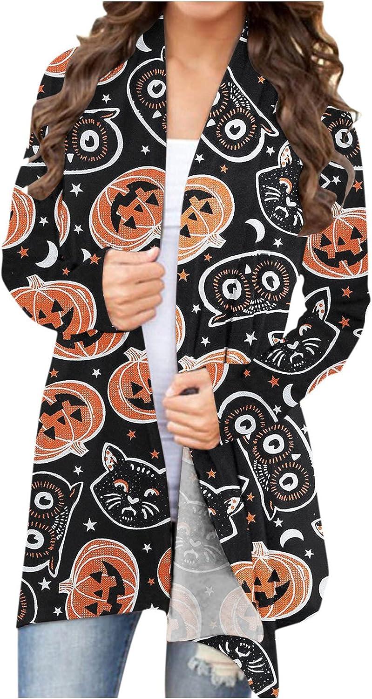 Halloween Sweatshirts for Women,Women's Halloween Open Front Knit Long Sleeve Pumpkin Cat Graphic Lightweight Coat