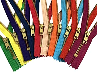 Metal Zippers - YKK Brass Set of (10) Pieces per Pack Number 5s Closed Bottom- Currently Available in 7, 9, 12, and 20 Inches (20 Inches, Assorted 10 Colors)