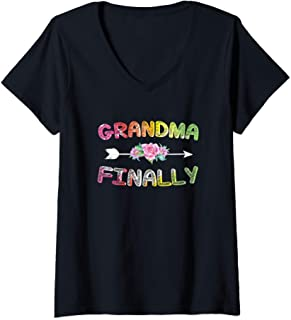 Femme Grandma Again Shirt For Women Grandma Announcement T-Shirt avec Col en V