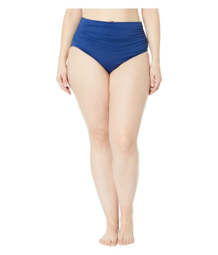 LAUREN Ralph Lauren Plus Size Bias Tribal Ikat Shirred High-Waisted Pant (Indigo) Women