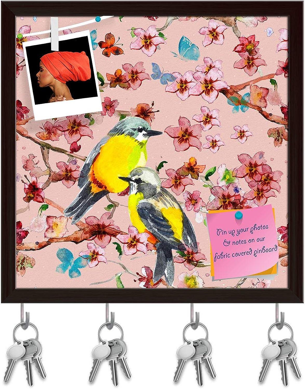 Artzfolio Birds & Flowers D5 Key Holder Hooks   Notice Pin Board   Dark Brown Frame 20 X 20Inch