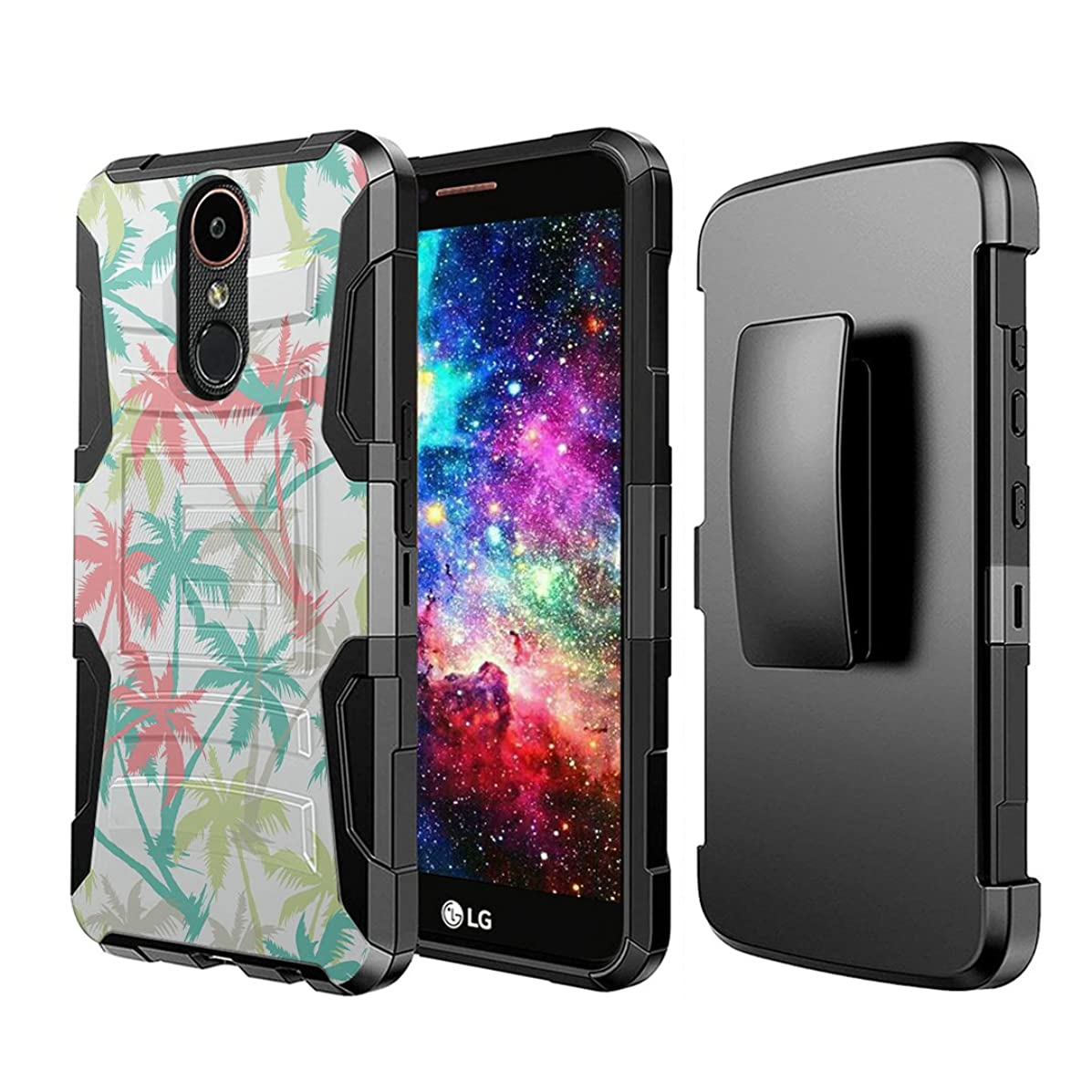 Capsule Case Compatible with LG Stylo 4 Plus, LG Stylo 4, LG Q Stylus [Dual Layer Full Armor Style Kickstand Holster Combo Case Black] for LG Stylo 4 - (Summer Palm Tree)