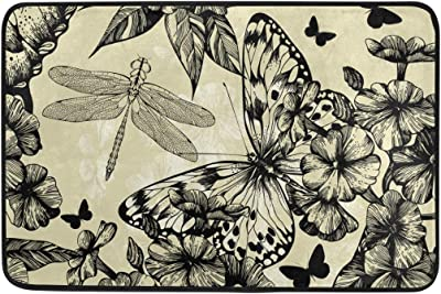 Blooming and Butterflies Pattern Doormat, Entry Way Indoor Outdoor Door Rug with Non Slip Backing, (23.6 x 15.7-Inch)