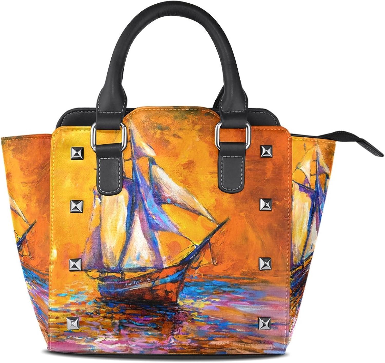 My Little Nest Women's Top Handle Satchel Handbag Oil Painting Sail Boat Ladies PU Leather Shoulder Bag Crossbody Bag