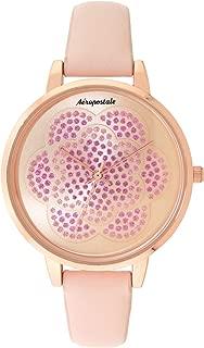 Aéropostale Women's Quartz Rose Gold Metal Watch - Flower Spiral Dial - Pink Leather Strap