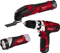 Einhell Expert 4257191 Set de herramientas TE-TK 12 Li, 12 V, 2 baterías de iones de litio, cargador, taladro con puntas, herramienta multifunción con hojas de lija y sierra, lámpara LED