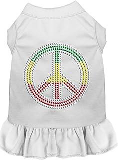 Mirage Pet Products 57-19 XSWT White Rhinestone Rasta Peace Dress, X-Small