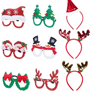 Christmas Headbands and Glasses Frames, Glitter Christmas Accessories Holiday Eyewear Hair Hoop for Christmas Party Favors Decorations Photo Props Gifts for Kids Girls| Antler Santa Hat Christmas Tree