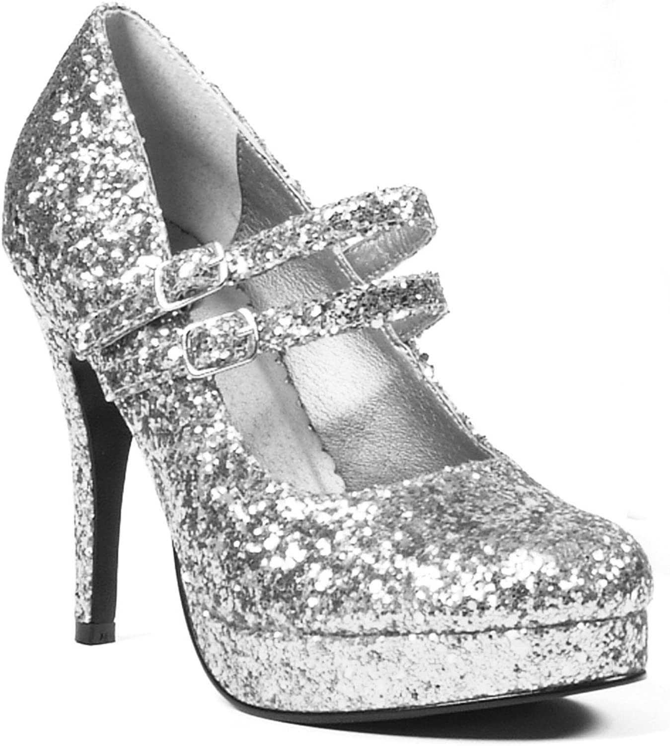 Ellie shoes E-421-Jane-G 4  Double Strap Glitter Mary Jane. 7 Silver Glitter