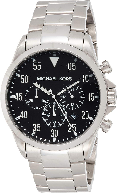 Michael Kors Gage Reloj de hombre cuarzo 45mm cronógrafo correa y caja de acero dial negro MK8413