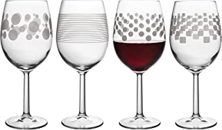 Trend Novelty Goblets Decorated Wine Glasses, Assorted Designs, 17.5 Ounce, Set of 4