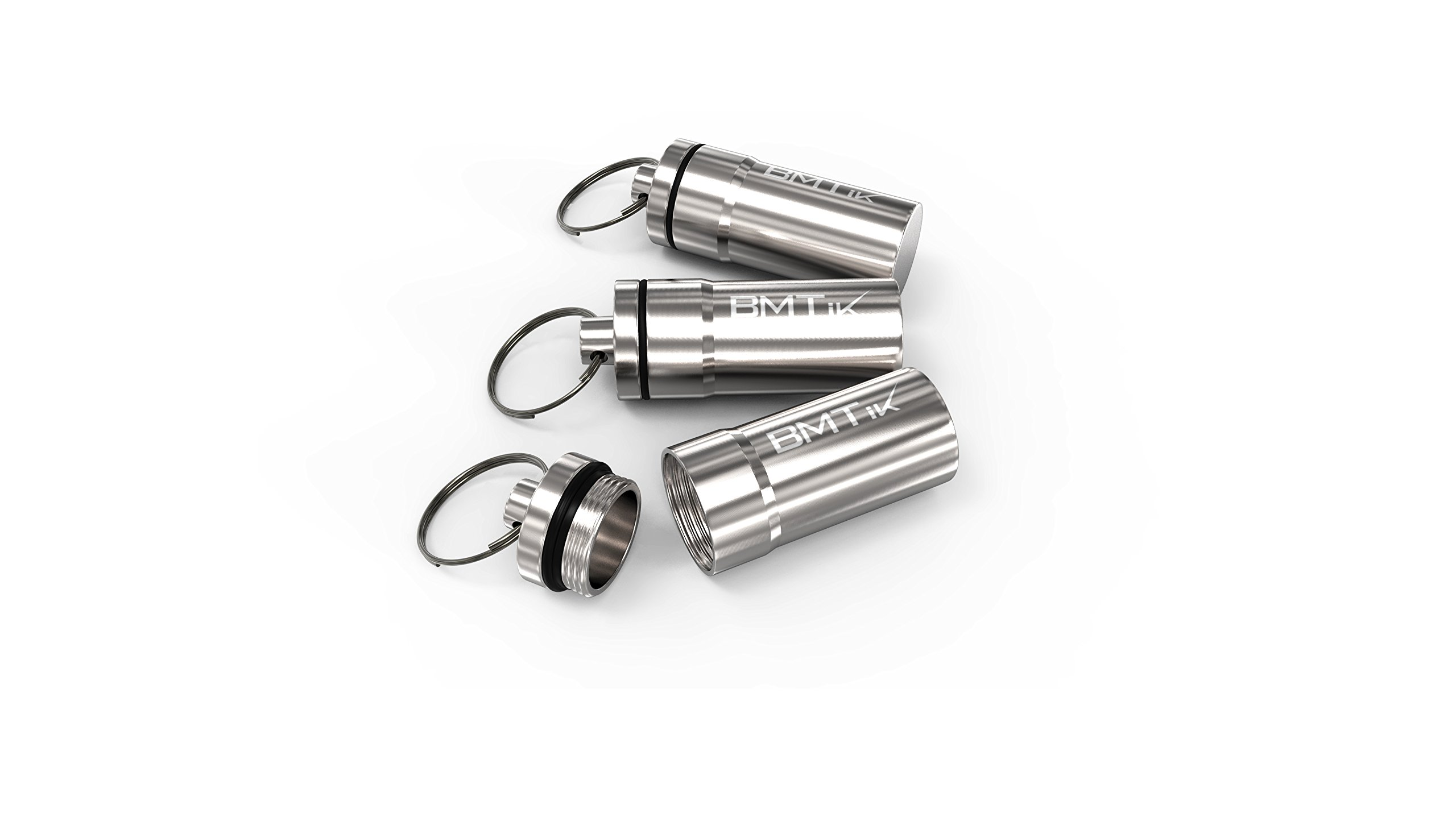 Large Size - Silver Chrome Colour BMTick Water-Proof Mini Tobacco Tin Capsule