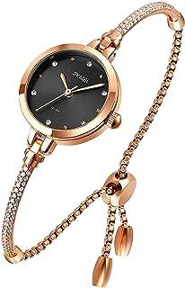 ساعة نسائية بسوار انالوج كوارتز مع الماس فاخرة كاجوال أزياء مقاومة للماء ساعة اليد اللباس للسيدات صديقة