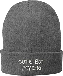 Trendy Apparel Shop Cute But Psycho Embroidered Winter Cuff Long Beanie