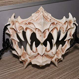 コスプレ 小道具 大人骨格標本マスク 龍神の面 頭骨 ホラーマスクSkull Mask Halloween Resin Horror Masque Scary Demon Dragon God Yasha Tiger Tengu Mask fo...