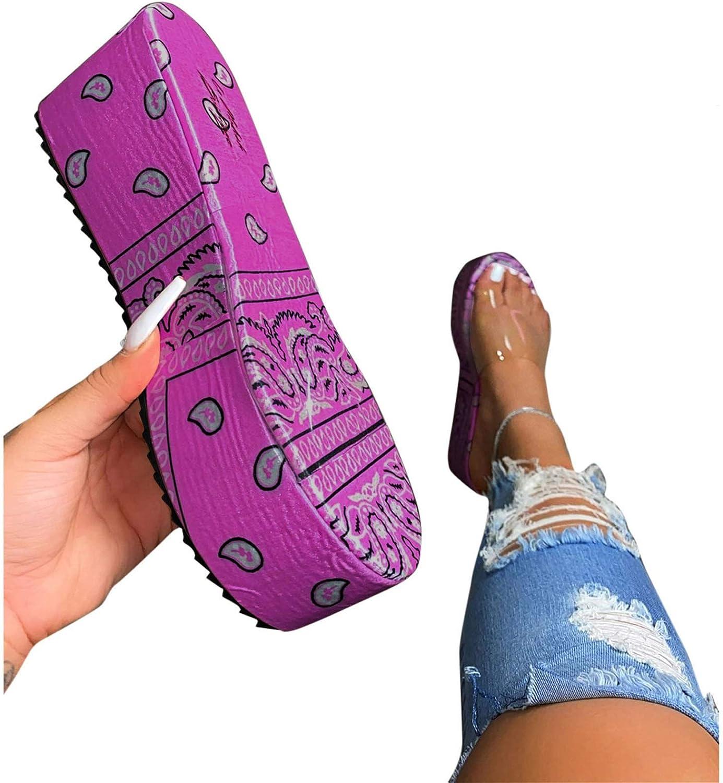 Xinantime Summer Womens Flip Flop Casual Shoes Comfy Slip On Flatform Open Toe Flats Wedges Sandals