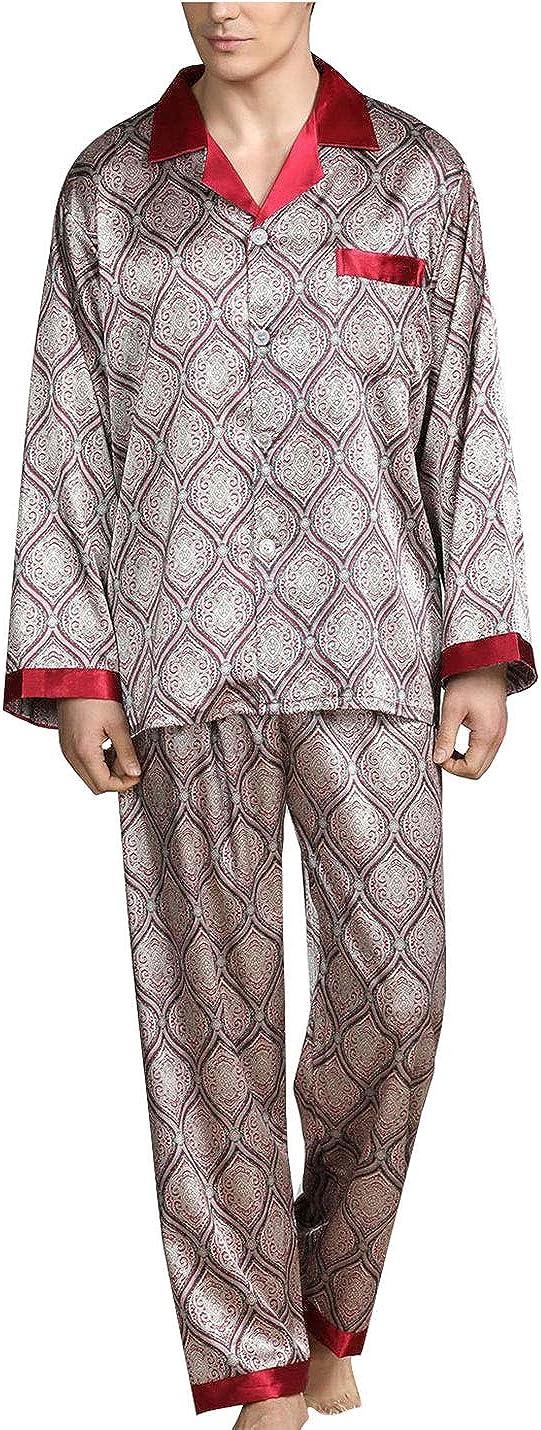 PUWEI Men's Super sale Long Sleeve Silk Satin Pajama Classic Lu Set Printed Sale special price