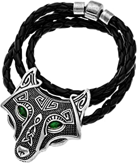 W WOOGGE Men's Necklace Norse Vikings Pendant Choker Necklace Wolf Head Nordic Necklace Original Animal Gothic Amulet Jewelry for Women