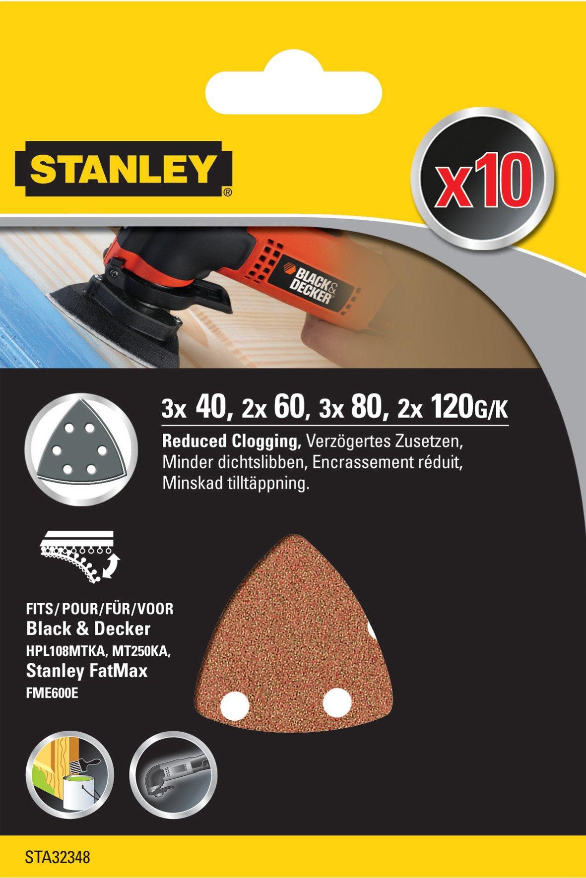 80 y 120 60 STANLEY STA32348-XJ 10 Hojas de lija grano 40