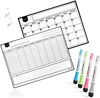 $30 » Reusable Sticky Dry Erase Monthly Calendar and Weekly Planner whiteboards, 4 colored Fine Tip Markers With Marker Holders ...