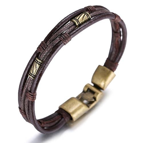 Halukakah ● Retro ● Men's Leather Bracelet Vintage Style 8.66In/22cm with Free Giftbox