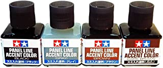 TAMIYA Panel Line Accent Color All 4-Colors - Black, Gray, Brown, Dark Brown New /item# G4W8B-48Q24109