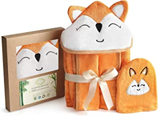 """Fox Style Bamboo Baby Hooded Bath Towel & Washing Glove Set - Size 40x28"""", Soft and Comfortable, Ultra Absorbent, 100% Natural - Perfect Gift for Baby"""