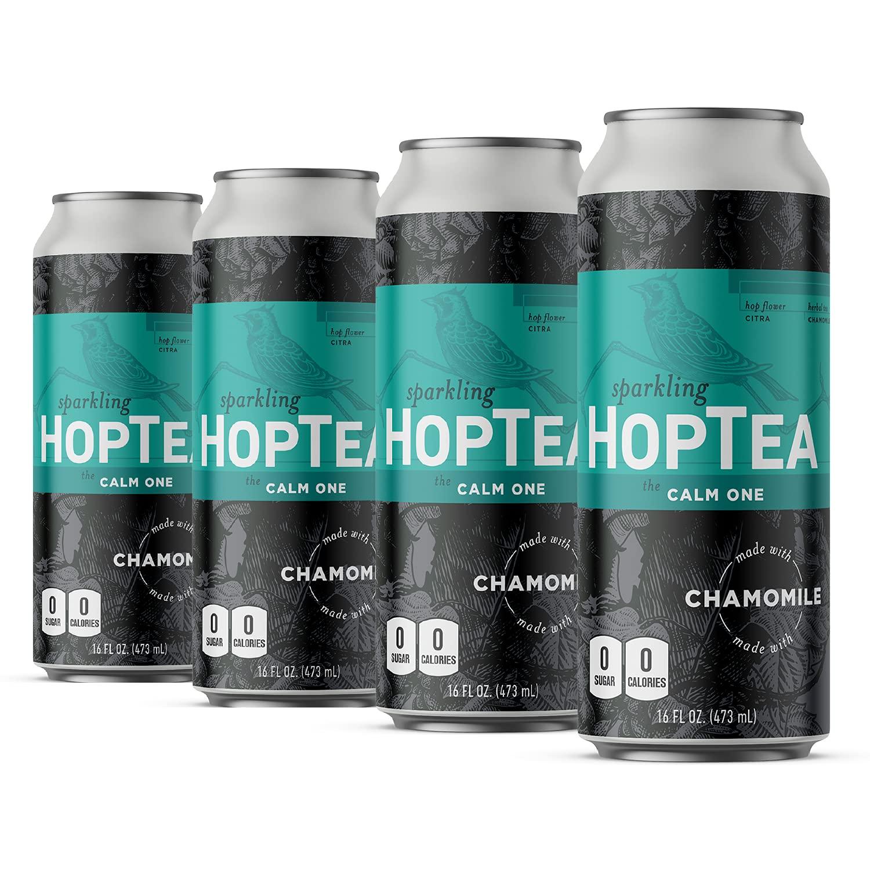 HOPLARK Sparkling HopTea - The Calm One - Craft Brewed NA Beer Alternative - Organic, Gluten-Free, Non GMO, Zero Calories, Sugar-Free, Caffeine-Free, Unsweetened, (12 16oz Cans)