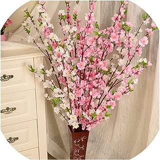 Rchhy Artificial Cherry Spring Plum Peach Blossom Branch Silk Flower Home Wedding Decorative Flowers Plastic Peach Bouquet 65CM,Random Color
