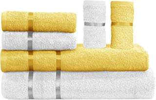 Story@Home Bath Towel Set Collection of 450 GSM Made with 100% Soft Cotton with Quick Dry Set of 6 Towels - White and Lemo...