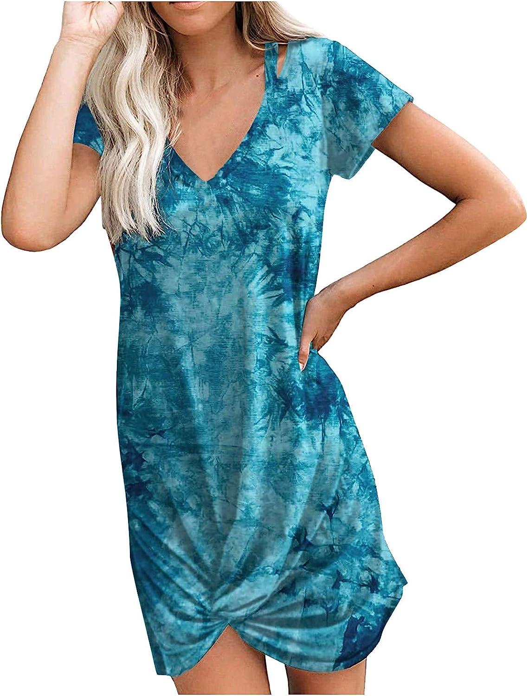 Lovor Women's Summer Casual Tshirt Dresses Tie Dye Print Sexy Short Sleeve Cute Mini Sundress Knot Side Beach Mini Dress