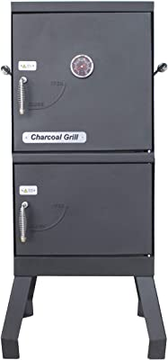ALEKO Vertical Offset BBQ Charcoal Smoker with Temperature Gauge - Black