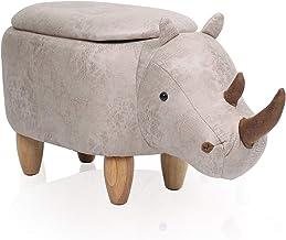 Animal Foot Stool f/ür Kinder Ottoman Seat Pouffe Schuhbank Holzbeine Gepolstertes Kissen Adults Footstool White