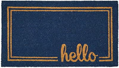mDesign Rectangular Coir and Rubber Entryway Welcome Doormat with Natural Fibers for Indoor or Outdoor Use - Decorative Script Hello Design - Navy Blue/Natural