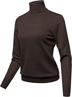 Women's Solid Turtle Neck Long Sleeves Sweater Top