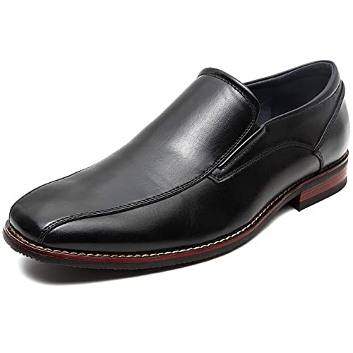ZRIANG Mens Loafers Dress Shoes Leather Lined Square Toe Slip-On