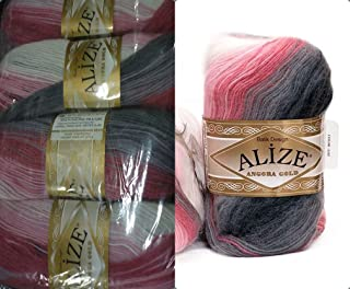 20% Wool 80% Acrylic Soft Yarn Alize Angora Gold Batik Thread Crochet Lace Hand Knitting Turkish Yarn Lot of 4skn 400gr 2408yds Color Gradient 1602